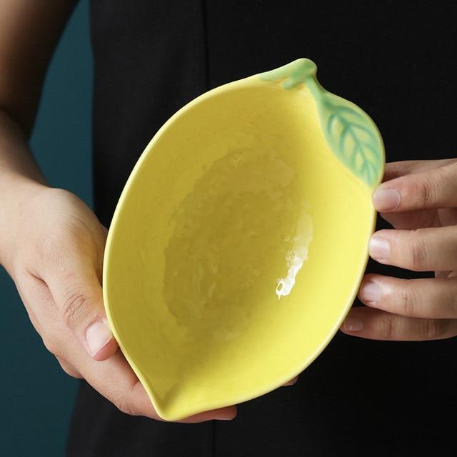 Фото тарелка в форме лимона керамическая тарелка миска для риса семейная