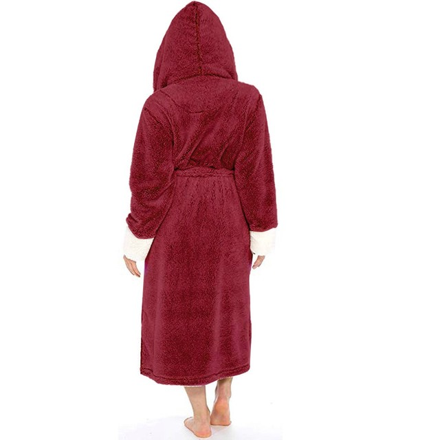 Women Winter Thermal Long Bathrobe Lovers Thick Warm Coral Fleece Kimono Bath Robe Plus Size Nightgowns Bridesmaid Dressing G#g2 5