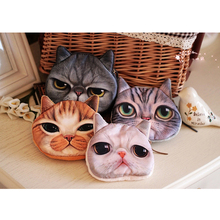 WULI SEVEN Cartoon Cat Coin Purse 3D Cute Girl Wallet Bag Animal Face Zip Mini Cat Coin Purses Children's Small Coins Pouch 3d fatty cat print coin purse