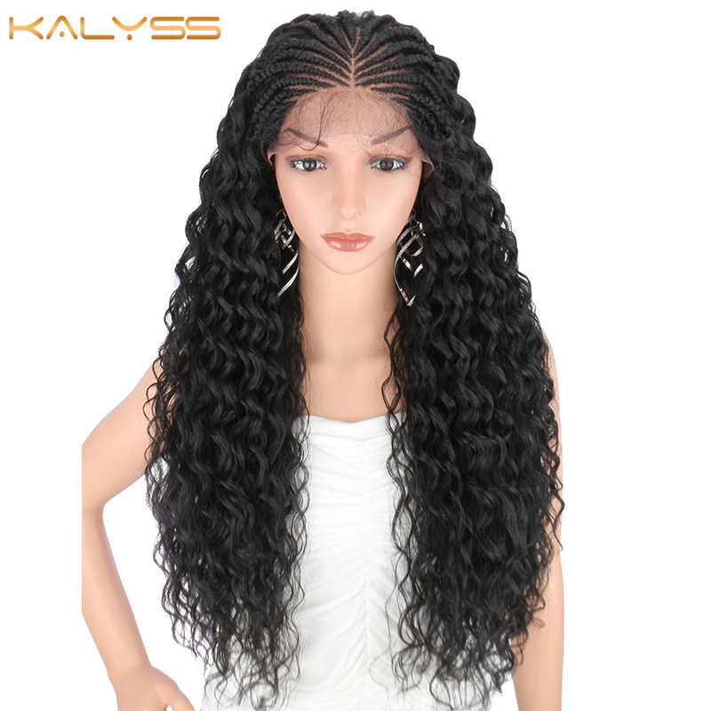 Kalyss 28 Inches Hand Braided Wigs for Black Women Synthetic Lace Front Wig with Baby Hair Curly Wavy for Cosplay Wig Women Wigs title=