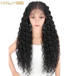 Kanyss 28 дюймов ручной Плетеный парик для черных женщин синтетический парик на кружеве с детскими волосами Кудрявые Волнистые для косплея пар...