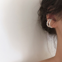 New Fashion Double Layer Pearl Circle Ear Cuff Earrings No Piercing Minimalist Beads Clip