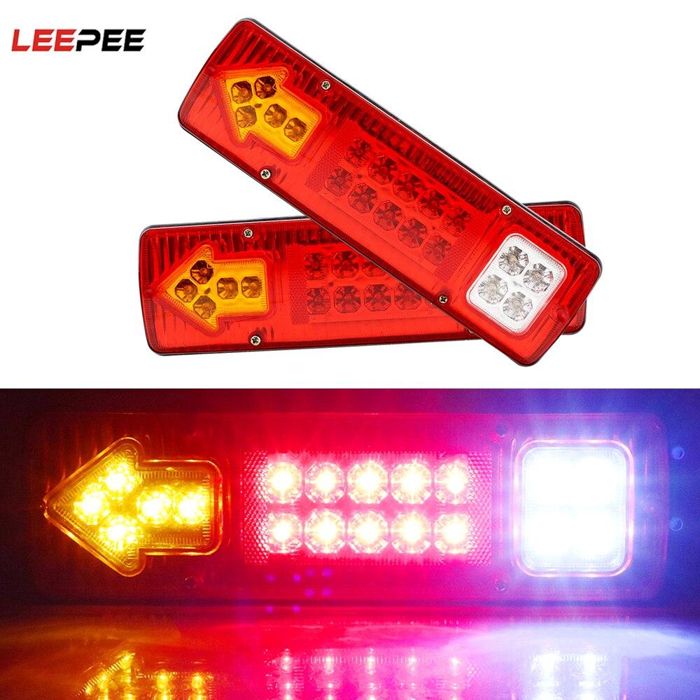 Leepee 19led luzes traseiras parar para caminhões de reboque caminhão turn signal lâmpada invertendo luzes 12v 24v 3 cor luz traseira