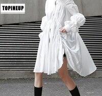 European and American Super Lovely Cute White pleated dress fashion trendy irregular style Lantern Sleeve pendulum shirt dress