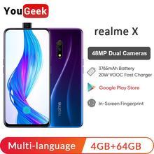 Realme X 4 ГБ ОЗУ 64 Гб ПЗУ 6,53 ''полноэкранный мобильный телефон с всплывающей камерой мобильный телефон 20 Вт VOOC Быстрая зарядка 3,0 смартфон