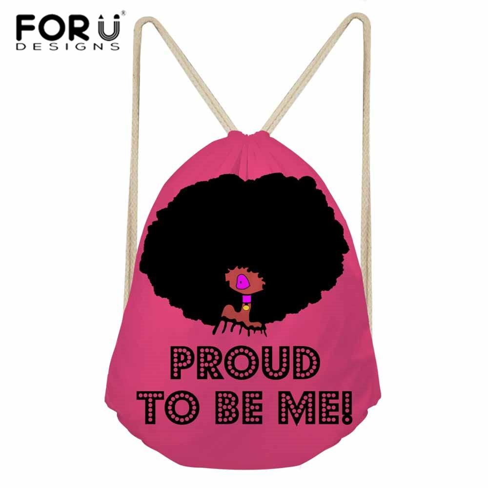 FORUDESIGNS Drawstring Bags For Women Black Girls Magic African Shoulder Backpack Ladies Beach Bags Females String Bag Pocket