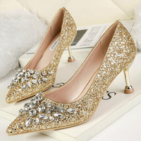 QWEDF Wedding Shoes Bride Women Pointed High Heels Sequined Rhinestone Fine Heel Female Wedding Banquet Ladies Pumps D5 100