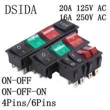 KCD4 кулисный переключатель ВКЛ-ВЫКЛ двухсторонний 2 положения 4 контакта/6 контактов электрическое оборудование с выключатель света 16A 250VAC/20A 125VAC