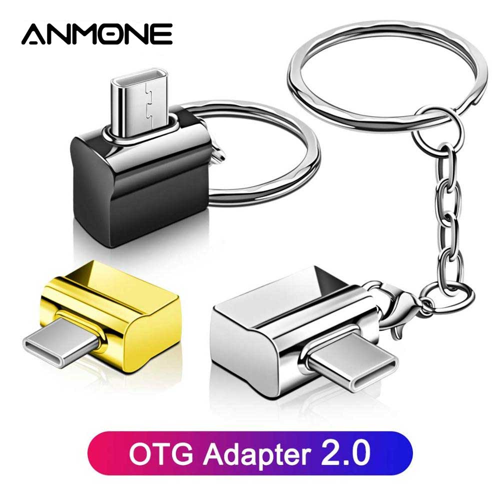 ANMONE USB Type C OTG Adapter Type C To USB Converter With Metal Key Chain OTG Type-C USB C Adapter Mouse Keyboard Disk Flash