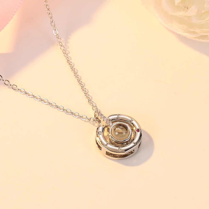 CARSINEL moda 100 języków kocham cię projekcja wisiorek naszyjnik dla kobiet mężczyzn kryształ naszyjnik cyrkoniowy biżuteria ślubna