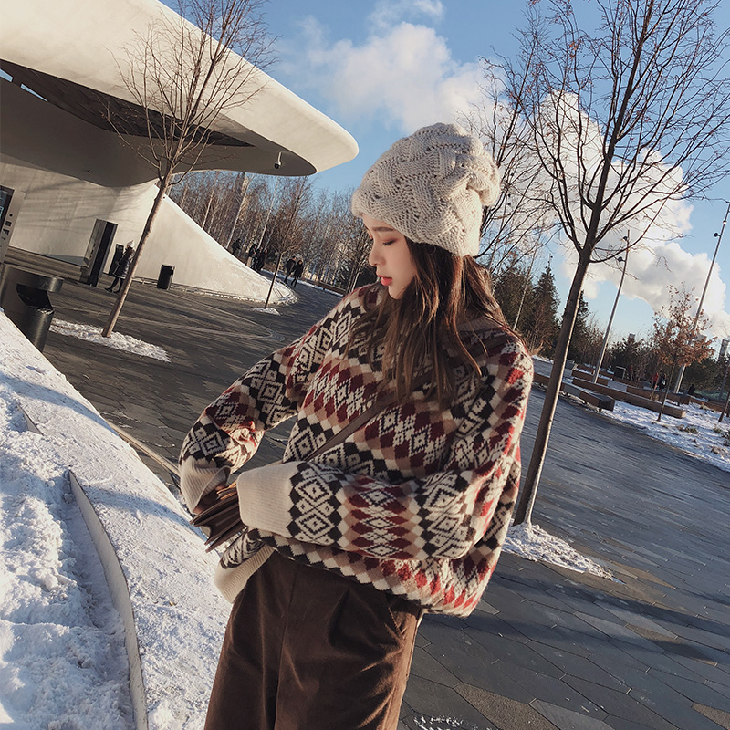 2019 MISHOW Autumn Winter Vintage Sweater For Women Causal Christmas Style Around Neck Long Sleeve Knitting Sweater MX18D5406