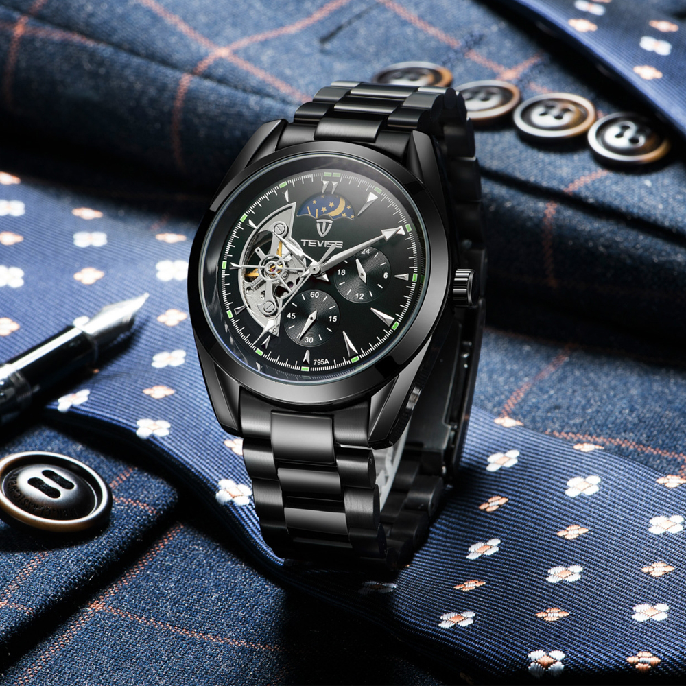 TEVISE Automatic Tourbillon Mechanical Watches Men Male Watch Business Skeleton Wristwatch Self Winding Watch Relogio Masculino in Mechanical Watches from Watches