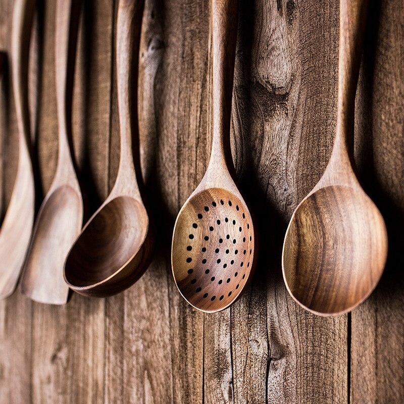 Thailand Teak Natural Wood Tableware Spoon Ladle Turner Long Rice Colander Soup Skimmer Cooking Spoons Scoop Kitchen Tool Set|Cooking Tool Sets|   - AliExpress