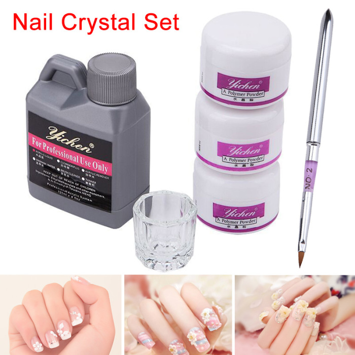 Newly Acrylic Nail Art DIY Kit Liquid Powder Clear White Pink Basic Glass Dappen Dish Tool CLA88