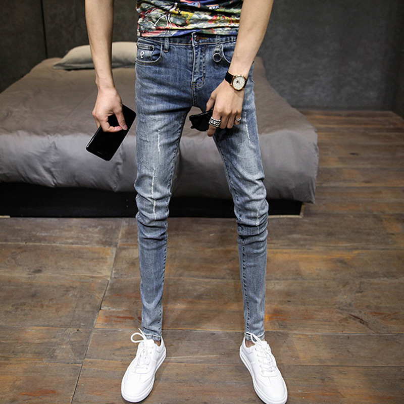 Wholesale 2019 Guy's Ripped Hole Jeans Men Stretch Slim Skinny Jeans Men Teenagers Cowboy Denim Scraping Long Pencil Pants Men
