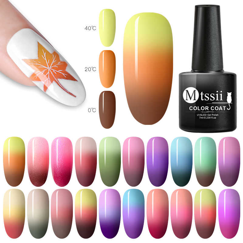 Mtssii 7ml Cambiamento di Temperatura di Colore Del Gel Del Chiodo di Stile 22 Soak Off Semi Permanant Gel UV LED Nail Polish Ibrido unghie Gel Per Unghie