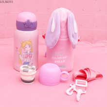 500ml Baby Cartoon Dinosaur Rabbit Feeding Cup With Straw Mug Action Figure Sailor Moon Stainless Steel Thermos cup Water Bottle