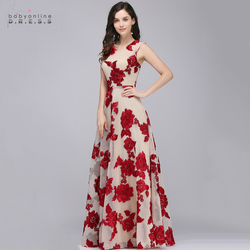 Vestido De Festa Lace Long Tulle Evening Dresses With Embroidery A-line Burgundy Evening Gowns Sleeveless Robe De Soiree
