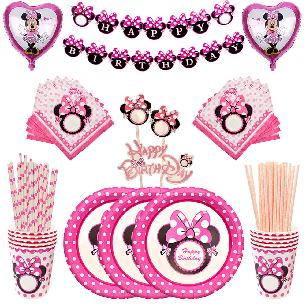 Minnie mouse pratos de talheres descartáveis, balões para decoração de casamento, chá de bebê, brindes de festa de aniversário