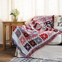 Sofá de doble cara, sala de estar toalla para, sofá de descanso, cojín, manta popular vintage, manta de cola de cama de viento nacional, tapiz T03