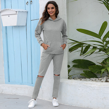Women hoodies Suit 2021 Solid hooded sets Spring Autumn Thick warm hoodies suit sets Long pants outwear hoodies sets 1