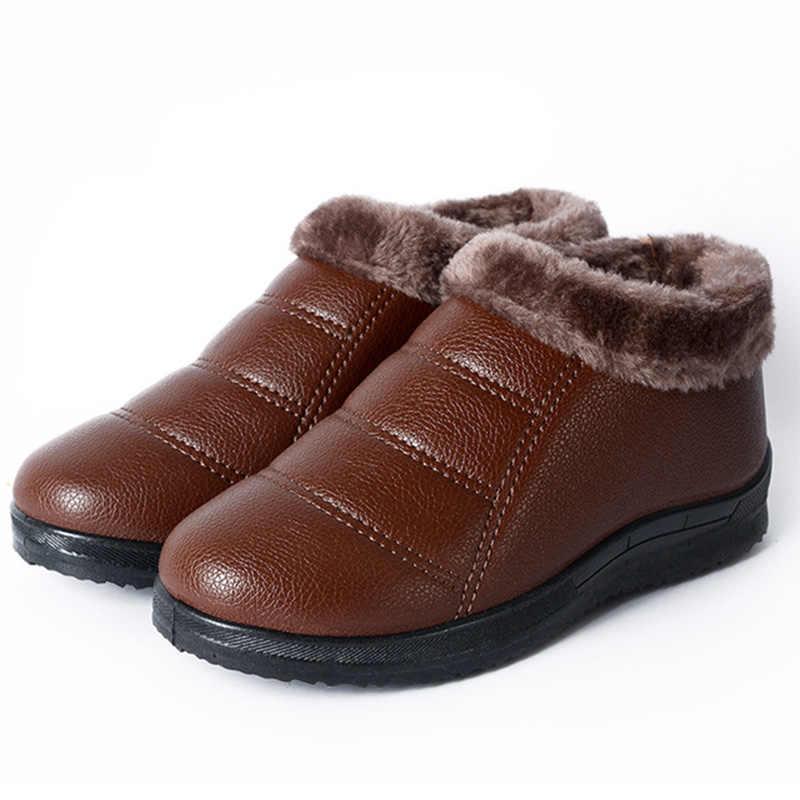 Kış sıcak yarım çizmeler bayanlar yumuşak PU deri su geçirmez botlar kadın kısa kürklü peluş kadın konfor platformu kadın ayakkabısı