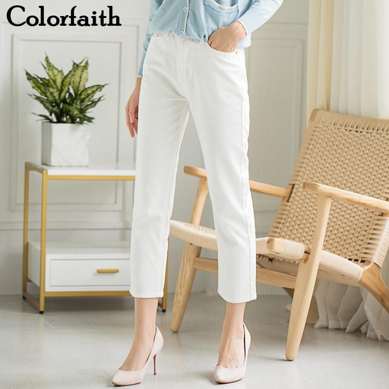 Colorfaith 2019 Women Jeans Zipper Casual Straight High Waist Trousers Pants Ladies Grils Ankle-Length Vintage White Denim J5629