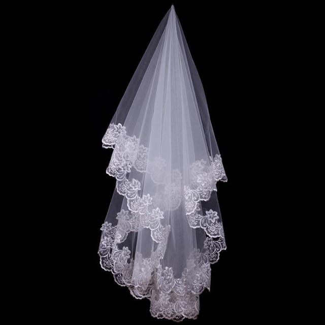 150cm Women Bridal Short Wedding Veil White One Layer Lace Flower Edge Appliques wedding accessories for women bride 1