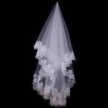 150cm feminino nupcial curto véu de casamento branco uma camada de renda borda flor apliques acessórios de casamento para mulher noiva