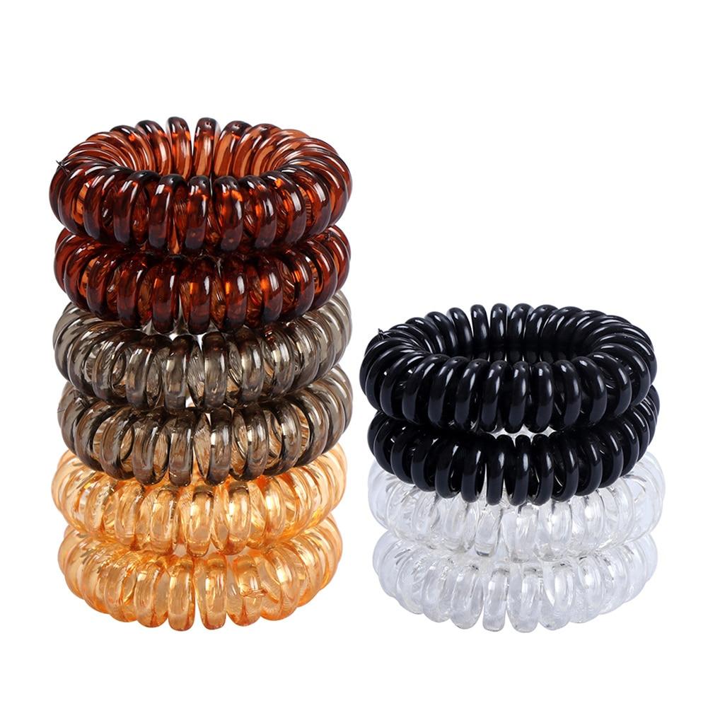 1PCS Clear Elastic Hair Ties Hair Ring Hairbands Women Spiral Hair Ties Girls Hair Rings Rope Telephone Wire Hair Accessories