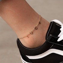 Chain Anklet Custom Jewelry Nameplate Stainless-Steel Personality Women for Gift Aurolaco