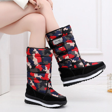 Camouflage Mid-calf Boots Female Winter Women Plush Warm Snow Fashion Padded Platform Shoes