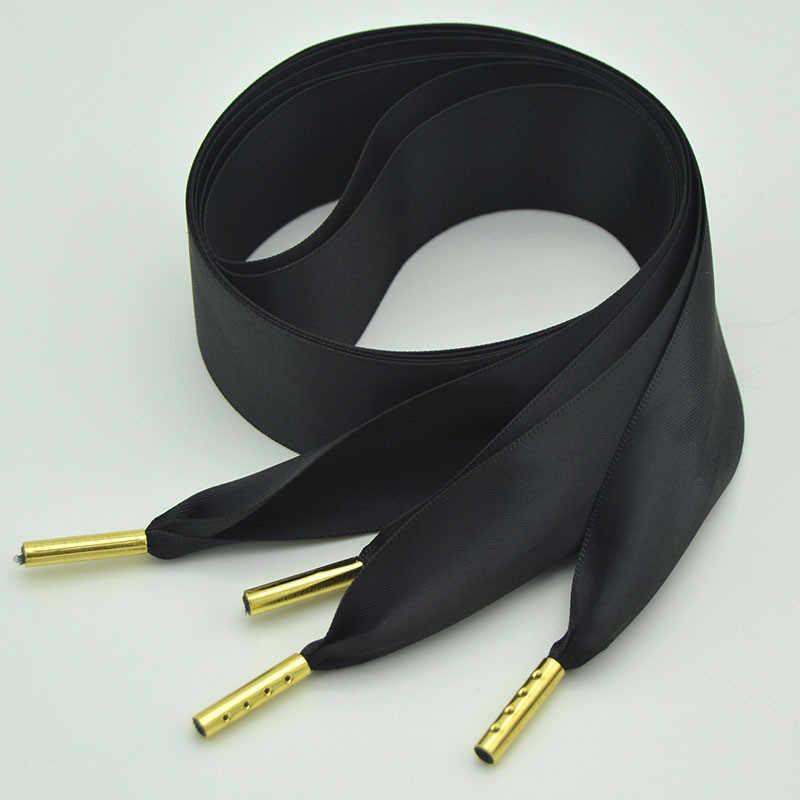 Zapatos de lazo de seda de doble cara cordones de Metal cabeza de encaje personalizado Zapatos Zapatillas de cordones grandes zapatos negros y blancos sólidos hombre de la mujer