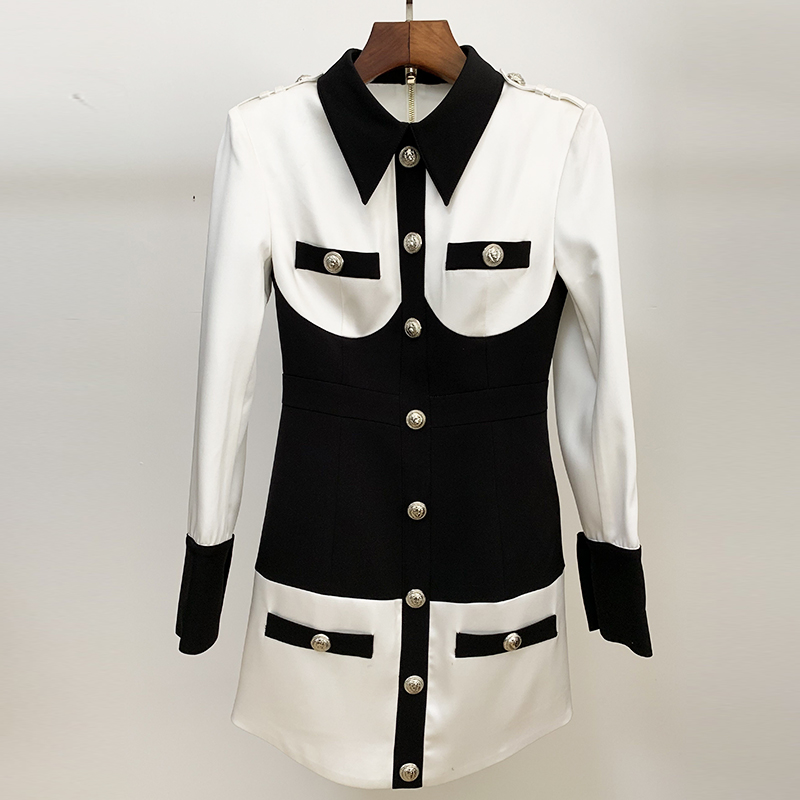 Image 2 - HIGH STREET 2020 Newest Designer Dress Womens Long Sleeve Color  Block Patchwork Shirt Collar Lion Buttons DressDresses