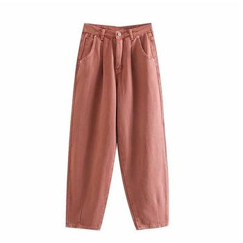 catonATOZ 2248 Khaki Female Cargo Pants High Waist Harem Loose Jeans Plus Size Trousers Woman Casual Streetwear Mom Jeans 14