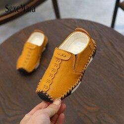 Crianças inglaterra estilo meninos sapatos de couro do bebê moda costura sapatos casuais couro do plutônio outono sola macia tênis deslizamento em b06061