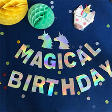 Decoration Unicorn Birthday-Banner Happy-Party-Garland Bunting SAD41 3-Meter Magical