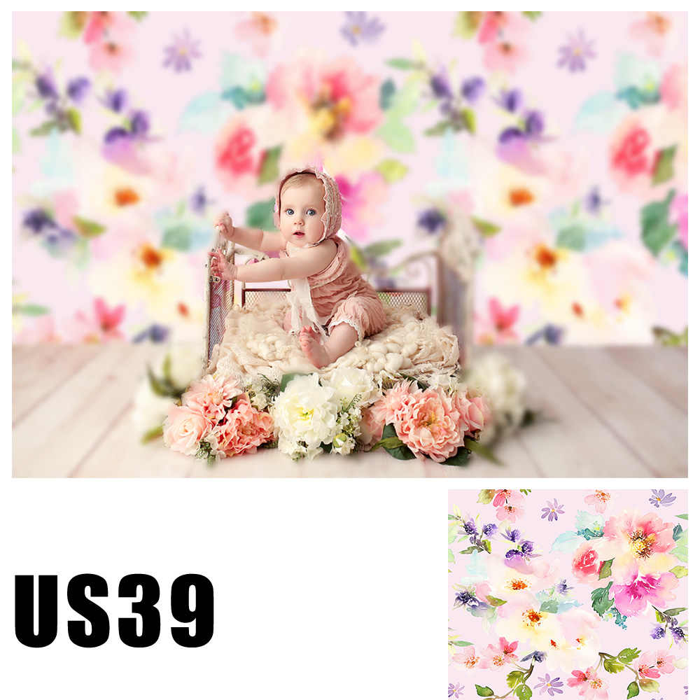 Fondo de cabina de fotos de bebé niños acuarela Floral primavera fotografía telón de fondo recién nacido foto estudio retrato papel pintado
