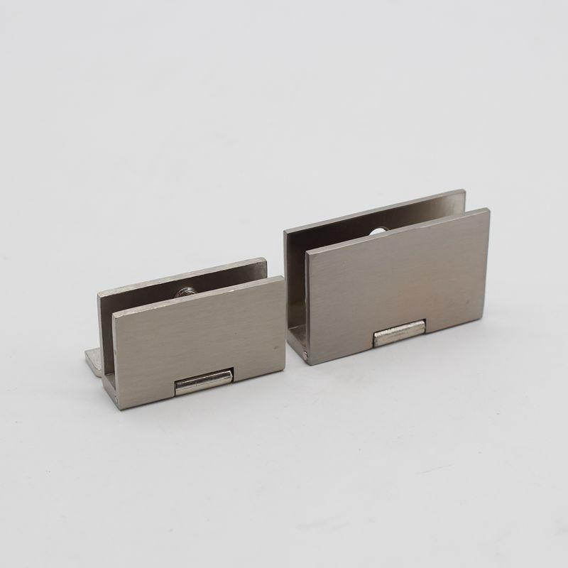 Zinc Alloy Cabinet Cupboard Glass Door Clamp Hinge Pack of 2