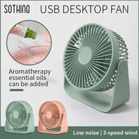 Sothing Mini Fan Tragbare USB Fan Doppel Blatt Desktop Fan Ultra Ruhig Smart Touch Sommer Kühler 360 grad Für Hause