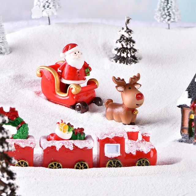 Christmas Santa Claus Sled Deer Tree Figurine Doll House home decor miniature fairy garden decoration accessories modern statue 3