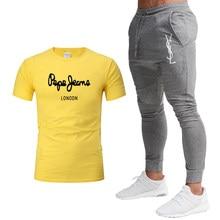 2021Summer new Fashion Leisure brand Men's Set Tracksuit Sportswear Track Suits Male Sweatsuit Short Sleeves T shirt 2 piece set