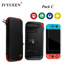 IVYUEEN 7 in 1 for NintendoSwitch NS Console Travel Carrying Bag & Tempered Glass Film & Hard Case Shell Analog Thumb Grip Cap