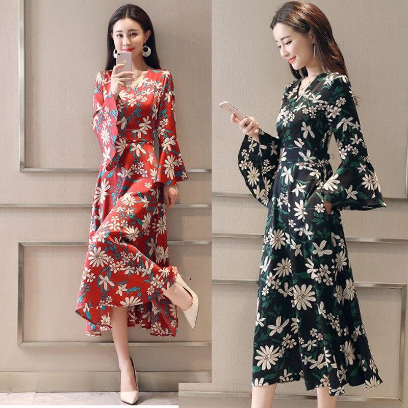 Spring Printed Chiffon Dress Women's Mid-length 2018 New Style Debutante Elegant Asymmetric Skirt