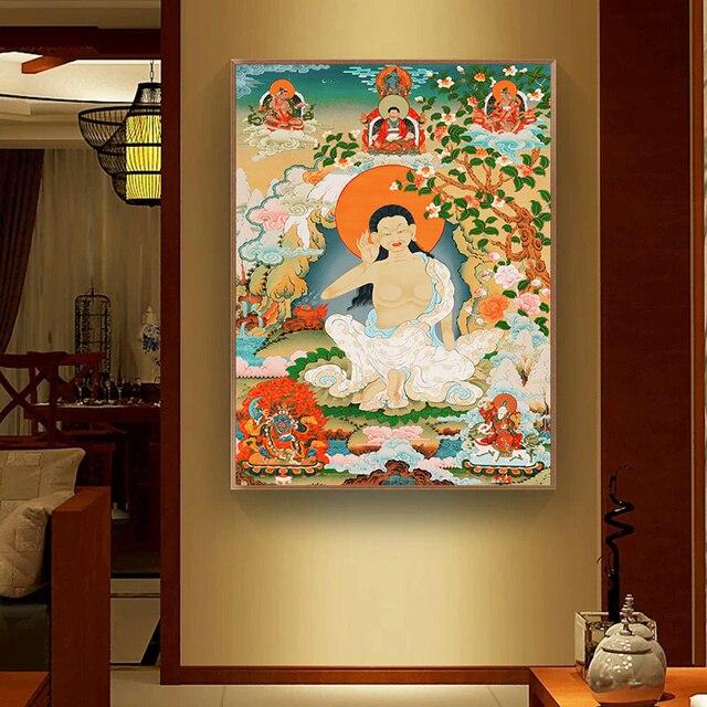 Bouddha Thangka inde Religion chinoise Style toile imprime peinture affiche Art mur photos pour couloir décoration de la maison pas de cadre