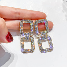 New hot fashion brand jewery Exaggerated geometric rectangle with crystal earrings for women shiny side style earring gift