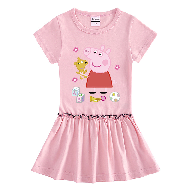 Peppa Pig Baby Girl Dress Summer Princess Short Sleeve Skirts Clothes Cute Cotton Party Fashion Girl 3-8 Baby Skirt Dresses