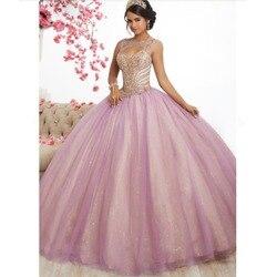 Rosa Tulle Longo Vestidos Quinceanera Vestidos de Baile 2019 New Design Beading Top Doce Vestido de Incinerar 16 vestido de 15 anos