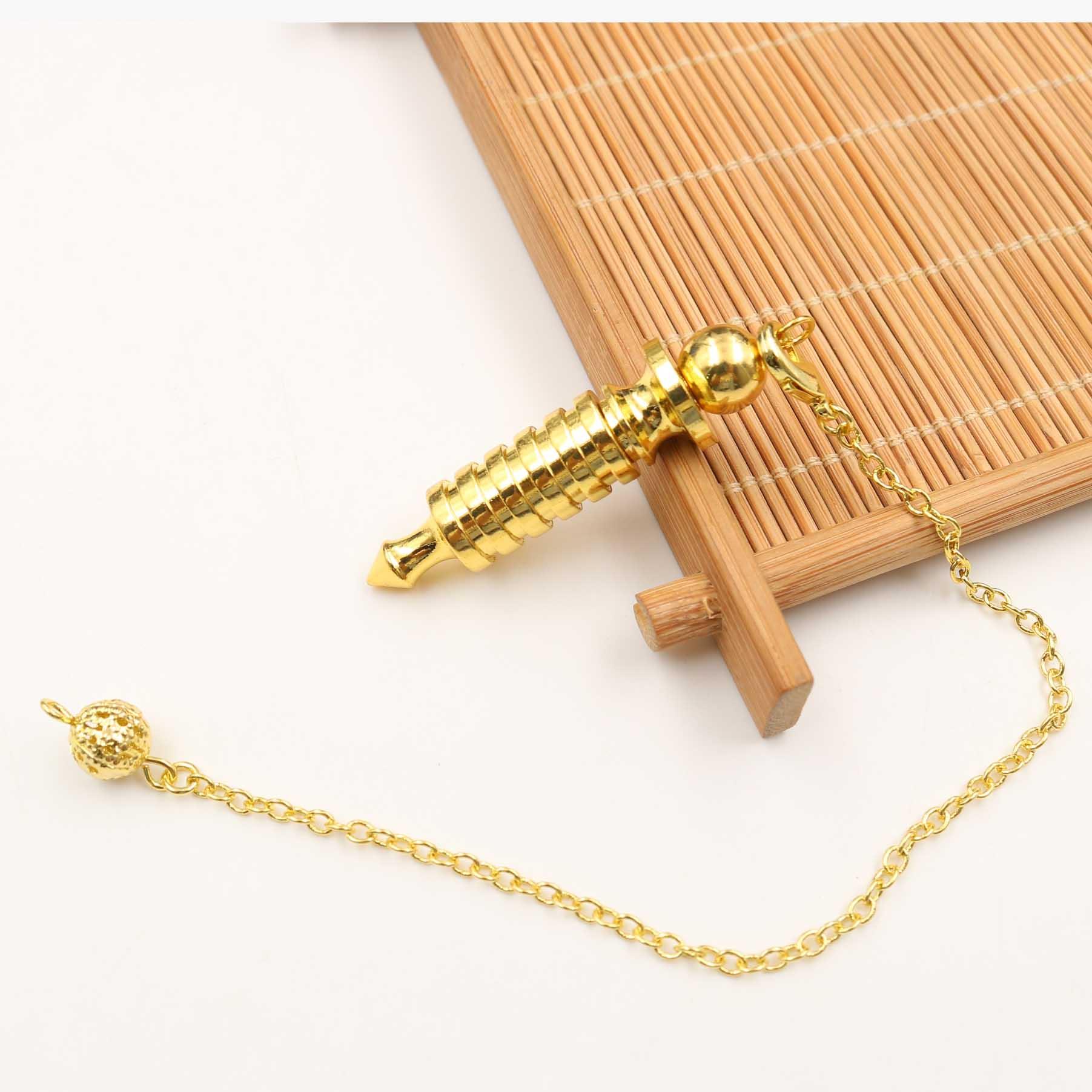 Metal Pendulums for Dowsing Divination Reiki Healing Spiritual Wicca Women Men Amulet Screw Shape Pendule Chains Charm Jewelry 7
