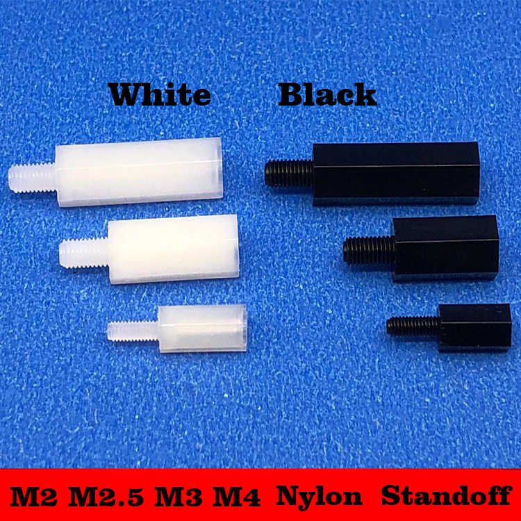 YJZG 20//50pcs M2//M2.5//M3//M4L+6mm Thread Black or White Spacing Screw Plastic for PCB Motherboard Fixed Nylon Standoff Spacer Pillar Color : White, Size : 12mm